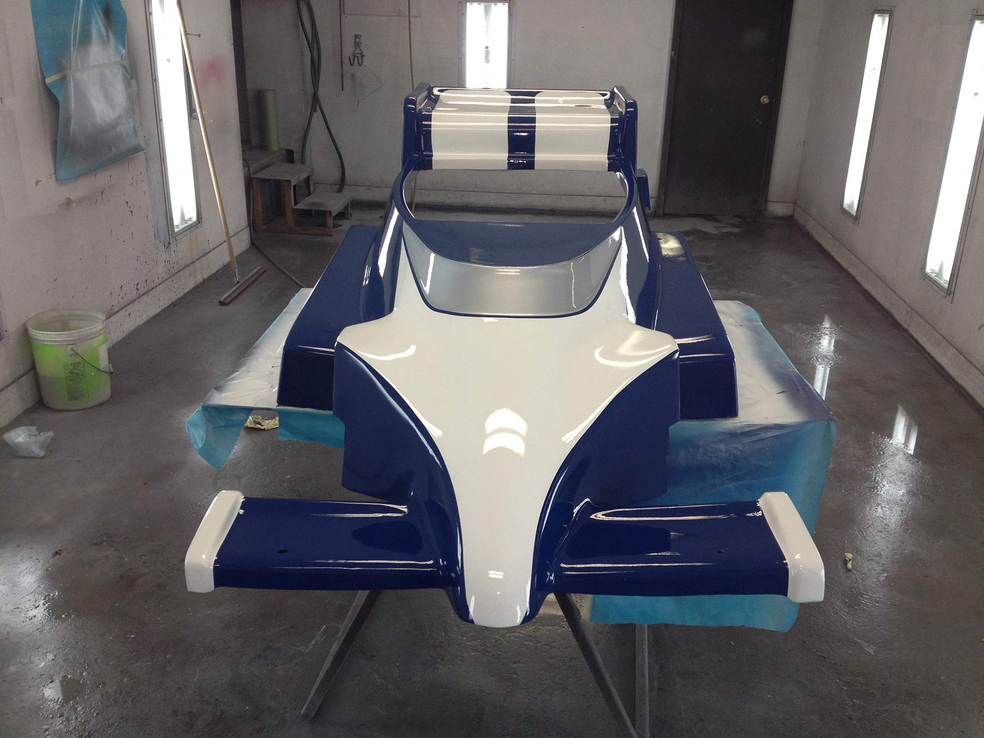Go Kart blue and white Paint Restoration