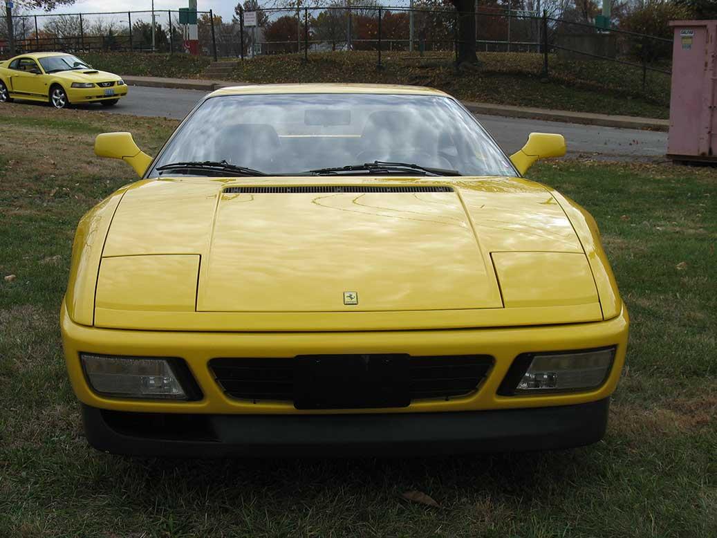 Front of yellow 1985 Ferrari