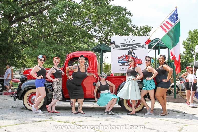 1941 Plymouth with vintage clothed women in front