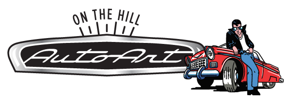 auto art on the hill logo with man leaning against vintage car
